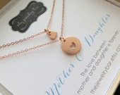 Mother daughter necklace, rose gold heart charm, gift for wife and daughter, mother of the bride