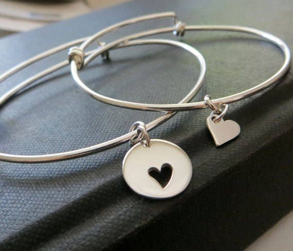 Wedding Gift for mom, heart bangle bracelet, sterling silver, mother daughter matching set, mom, bride, wedding day jewelry