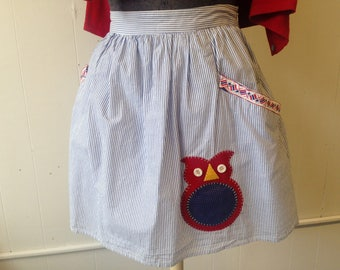 Blue and White Striped Skirt with Owl Appliqué