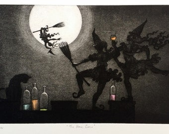 Drunken Dancing Witches and one Cat in the Moonlight - 'The Homebrew' - Drypoint & etching print by Nancy Farmer, original art. Somerset, UK