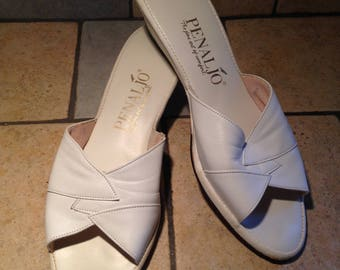 Like New White Peep Toe Leather Wedge Slide Sandals - Size 8 S