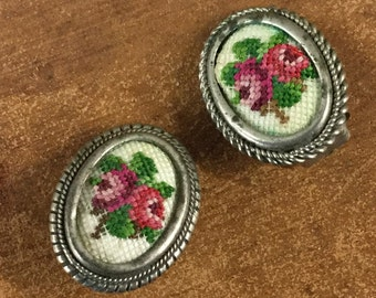 Petite Needlepoint Petit Point Rose Earrings Clip On Handcrafted Silvertone Mounting Tarnished Shabby Chic