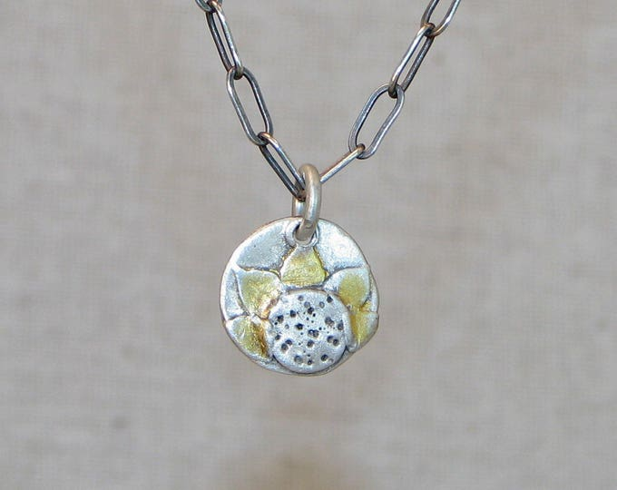 Sunflower Pendant with Gold Accent