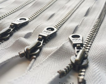 YKK Metal Teeth Zippers-Antique Brass Donut Pull-Color 337 Overcast Gray- Available in 10,11 or 14 Inches - 5 Pieces