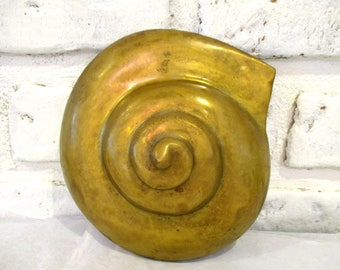 Vintage Brass Sea Shell Conch Seashell Sculpture Hollywood Regency Ocean Beach House Nautical Decor