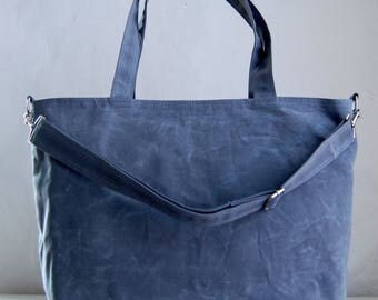 Grey Waxed Canvas Big Tote Bag with Cross Body Detachable Strap - Ready to Ship