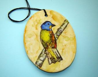 Painted Bird Ornament – Alcohol Ink Painting – Fine Art Ceramics – Backyard Bird – Handmade Pottery – Home Décor – Painted Bunting