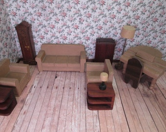 40s Strombecker Wooden  Dollhouse Living Room Furniture - 12 Pieces - 3/4 Scale