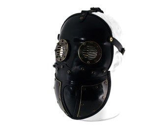STEAMPUNK LEATHER Mask black leather armor Sturmmann design