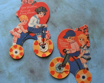 Vintage German Mechanical Valentine Cards Children Riding Tricycles