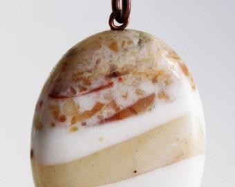 Jasper Oval Pendant Bead with Antique Copper Bail, Earthy, Neutral Hues, Brown, Cream, Tan, Beige, 40 x 30mm, sku 1006