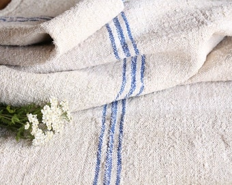 R 526 antique handloomed  BRIGHT BLUE 2.18 yard  fabric 20.47wide linen, upholstering, 리넨, home decor, pillow,
