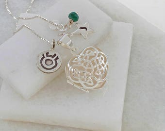 Celtic Necklace – Heart Locket – Heart Necklace – Silver Locket Necklace – Personalised Locket – Sterling Silver Necklace - May Birthstone