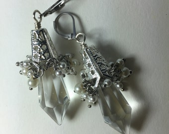 Pearl and glass bridal chandelier earrings