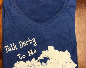 Blue green  Kentucky Derby  sixe XL only crew neck t-shirt, tri blend tee, Kentucky state shirt, Talk Derby to me