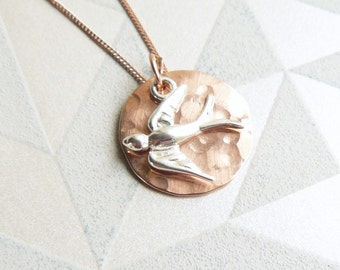Hammered Rose Gold Disc and Silver Swallow Necklace, Mixed Metal Necklace, Bird Pendant