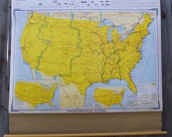 Vintage School Maps: USA Transportation Systems & Land Use