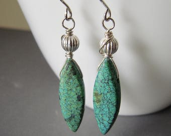 Chrysocolla Jasper Earrings, Natural Gemstone Marquise Sterling Silver Earrings, Green Dangle Earrings