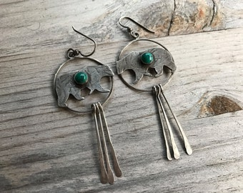 Turquoise Bear Totem Earrings