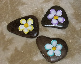 Set of 3 - Two Sided - Hand Painted Idaho Rocks- Peace - Love - Joy - Daisies - Yellow - Turquoise - Lavender - Acrylic Originals