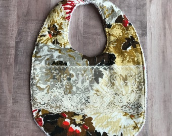 Baby Bib from Vintage Bark Cloth and Vintage Lace