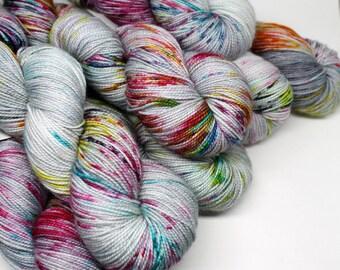 Hand Dyed  Speckled Sock Yarn - SW Sock 80/20 - Superwash Merino Nylon - 400 yards  - Graffiti Overlay