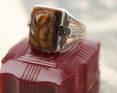 antique intaglio 10k + sterling engraved mens tiger eye diamond ring victorian art deco