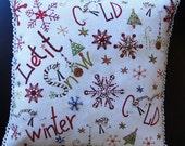 A Little Bit of Winter Beaded Art Pillow