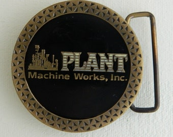 Plant Machine Works Mother of Pearl Inlay Round Belt Buckle As Is Machinist Diesel Mechanic