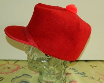 Size 7 50s Red Wool Hunting Cap with Quilted Lining Flex-O-Band Men's Hunting Hat