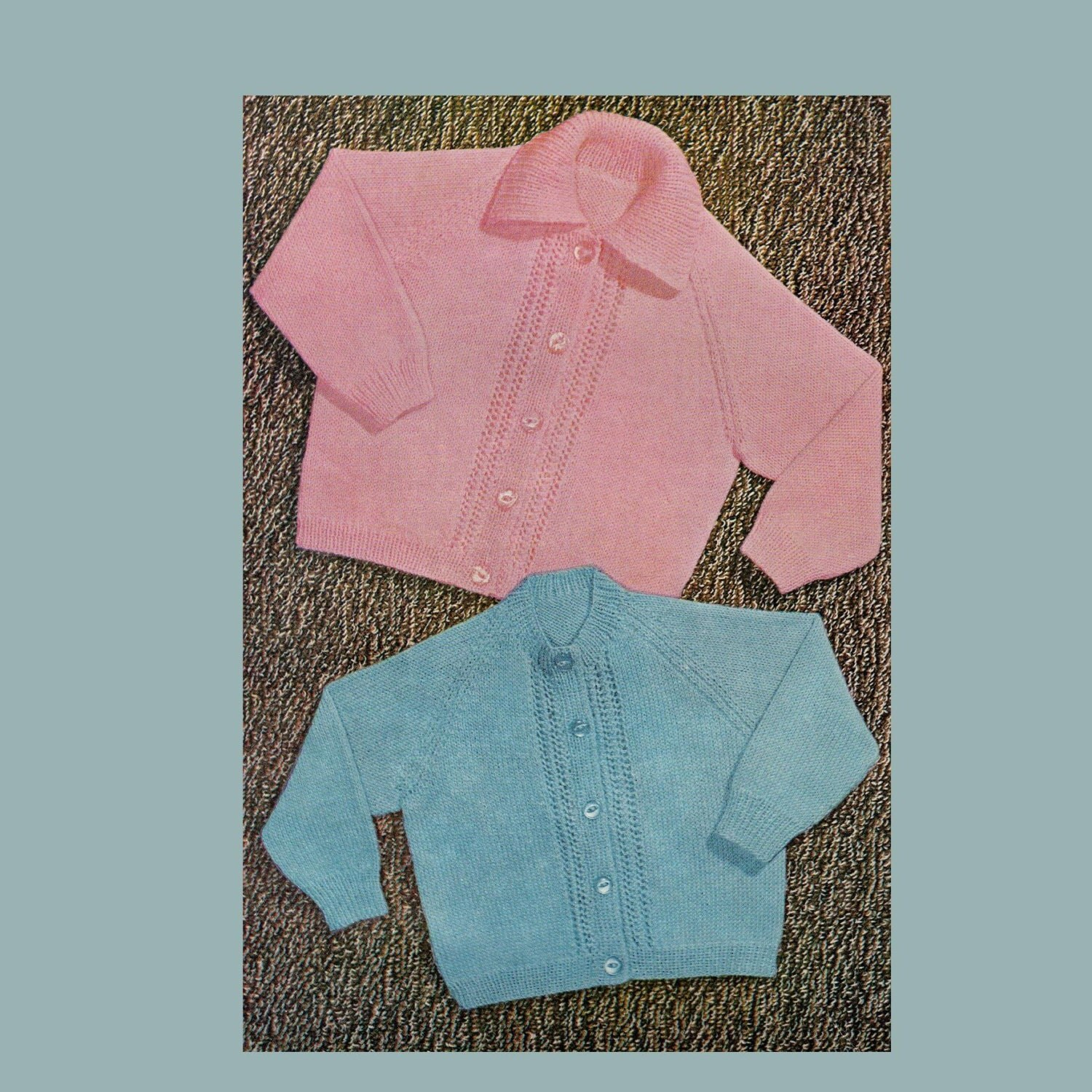 Knitting Pattern Raglan Sleeve Baby Cardigan : Vintage Baby Knitting Pattern Raglan Cardigan / Two patterns