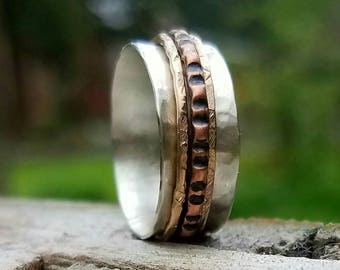 Spinner Ring with Hammered Copper and Textured Gold Filled  Spinners Black Sterling Silver Your Choice Fidget Ring Worry Ring Anxiety Ring