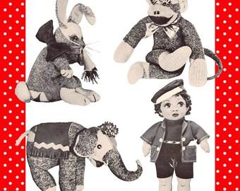 1950's-SOCK TOYS Pattern Book-Over 50 Designs To Make-Monkey-Elephant-Sock Dolls-Finger-Arm Puppets-Clothing-100's Illustrations-EBook-PDF