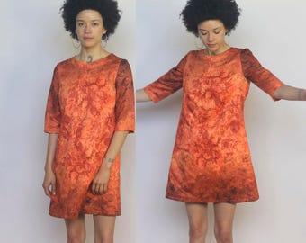 the setting sun -- vintage 60s floral print mini dress size S