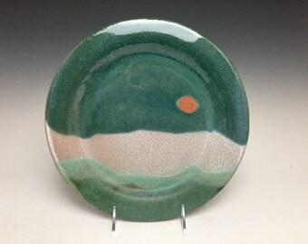 Dinner Plate: Sunrise Over Ocean Waves, Sky and Seascape