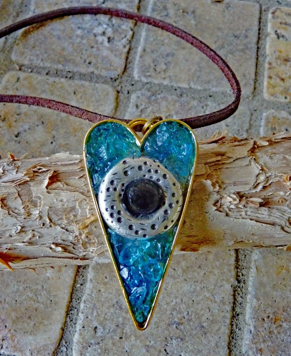 Mosaic Heart Pendant Necklace with Turquoise Crushed Glass