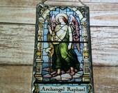 Archangel Raphael Wall Plaque Glittered Soldered Glass Ornament