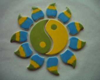 ONE - YIN-Yang LOTUS Circle Mosaic Tiles - Ceramic Tile Set
