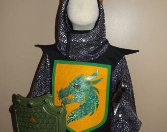 Knight costume, size 4/6, five piece set with crown, sword, shield, tunic, and hood