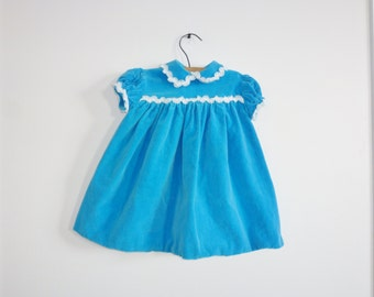 Vintage Blue Velveteen Dress