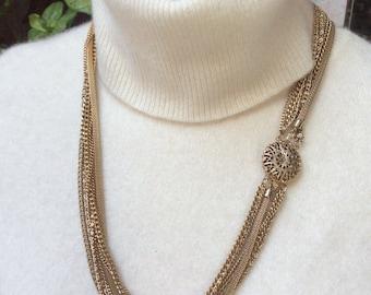 "Vintage 7 chain filigree clasp goldtone necklace, 23"" 7 strand chain necklace, ornate filigree closure goldtone chain necklace"