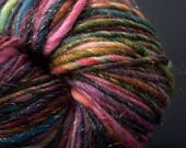 DiDyme, HandSpun and Hand dyed Yarn, Merino, Silk and Sparkles, bulky, Single, 110 yards