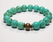 Boho Bracelet Gemstone Stretch Bracelet Turquoise Magnesite Stack Trendy Layering Fashion Gemstone Bracelet