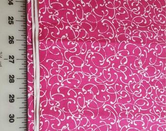 Cotton White Fuschia Pink allover Print 1yd