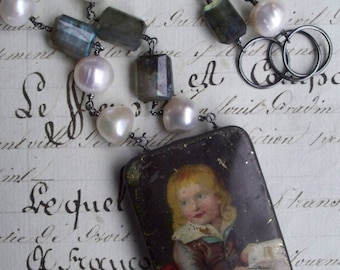 Vintage Tin Box Assemblage Necklace