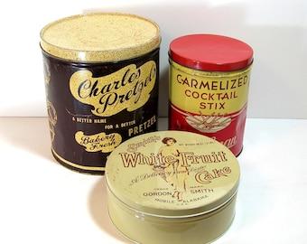 Vintage Collectible Advertising Tin Boxes, Charles Pretzels, Bachman Cocktail Stix and Smith's Fruitcake