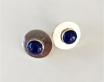 Lapis Lazuli Studs: Blue Cabochons on  Sterling Circles, Hammered Texture