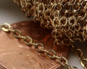 32 feet Pinky Gold Chain (Champagne Gold) Chain - 3x2mm SOLDER Flat Cable Chain - Oval Flat Soldered Cable Bulk Wholesale