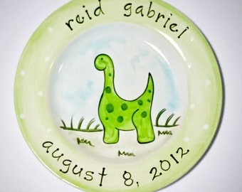 birth gift, baby gift, first birthday personalized hand painted dinosaur baby birth plate