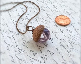Glass Acorn Necklace - Lavender Lilac Swirl - by Bullseyebeads